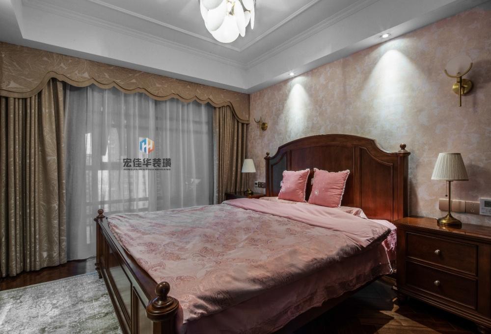 柔和美式风次卧设计卧室窗帘2图美式经典卧室设计图片赏析