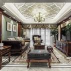 柔和美式风客厅实景图片