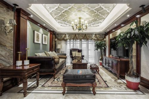 柔和美式风客厅实景图片121-150m²三居家装装修案例效果图