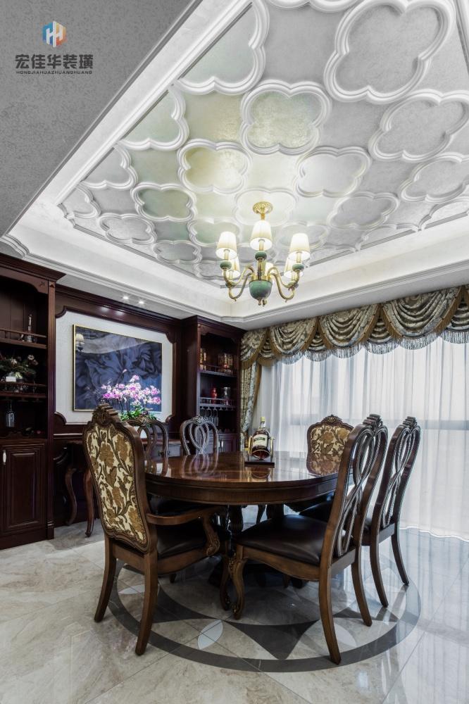 柔和美式风餐厅吊灯图片厨房美式经典餐厅设计图片赏析