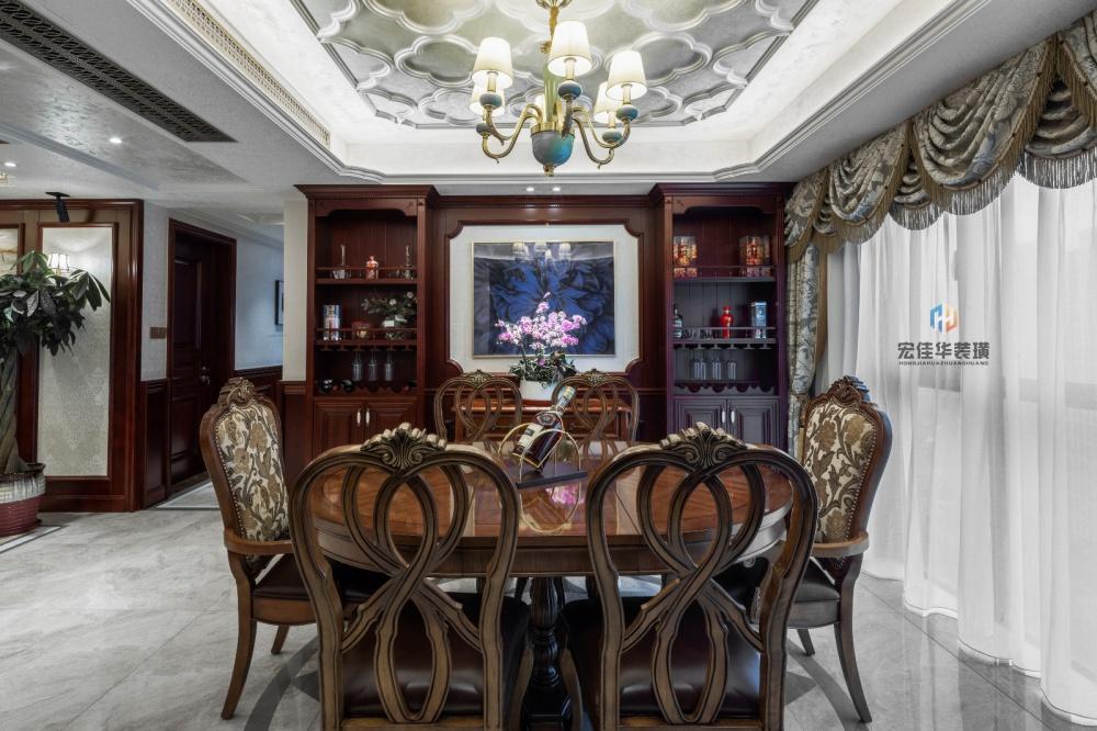 柔和美式风大餐厅储物柜设计厨房美式经典餐厅设计图片赏析