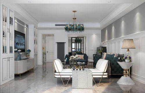 名都花园客厅电视背景墙151-200m²四居及以上美式经典家装装修案例效果图