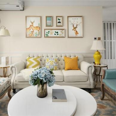 经典美式客厅沙发背景画图
