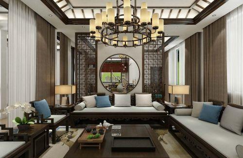 新中式客厅沙发201-500m²复式中式现代家装装修案例效果图