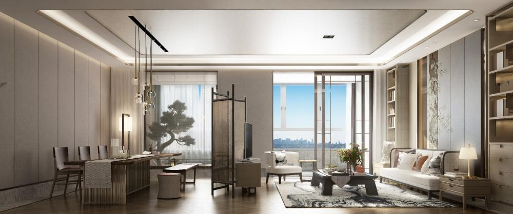 东胜紫御府轻奢新中式客厅3图中式现代客厅设计图片赏析
