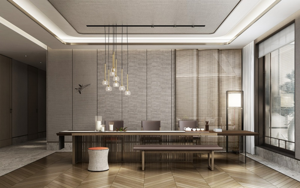 东胜紫御府轻奢新中式客厅2图中式现代客厅设计图片赏析