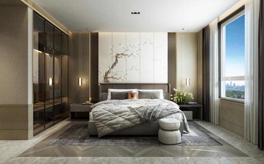 东胜紫御府轻奢新中式卧室1图中式现代卧室设计图片赏析