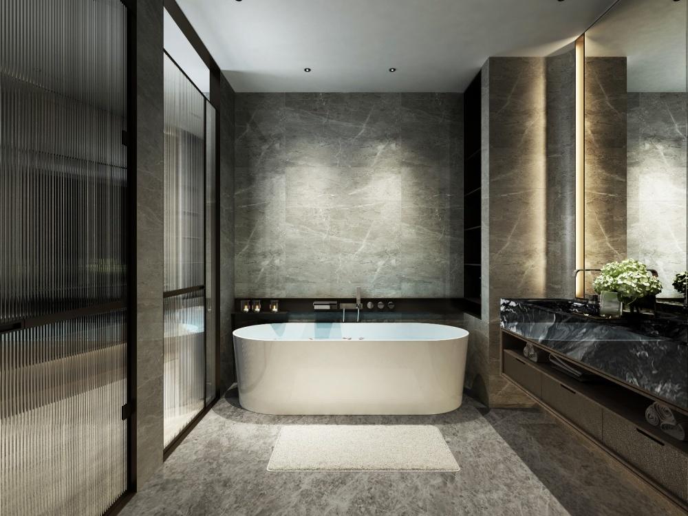 东胜紫御府轻奢新中式卫生间2图中式现代卫生间设计图片赏析