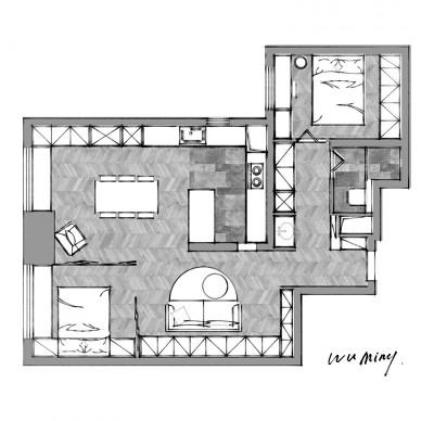 把精裝房拆成毛坯,打造出會變形的客廳_3625052