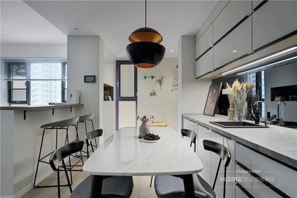 欢乐佳园装饰|灰色+粉色都市人的一剂**厨房1图北欧极简餐厅设计图片赏析