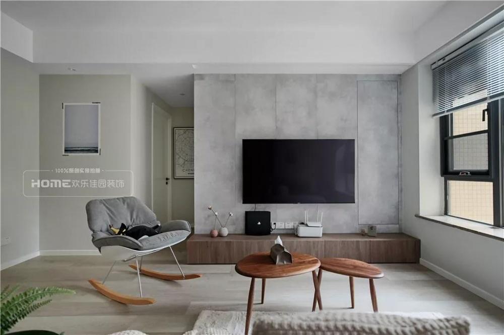 欢乐佳园装饰|灰色+粉色都市人的一剂**客厅1图北欧极简客厅设计图片赏析