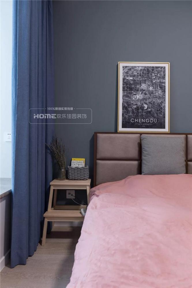 欢乐佳园装饰|灰色+粉色都市人的一剂**卧室3图北欧极简卧室设计图片赏析