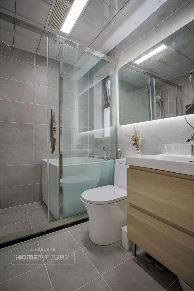 欢乐佳园装饰|灰色+粉色都市人的一剂**卫生间2图北欧极简卫生间设计图片赏析