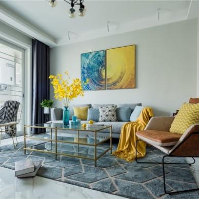 80㎡现代混搭风客厅沙发图