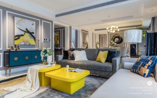 休闲美式 Lemonade客厅窗帘复式美式经典家装装修案例效果图