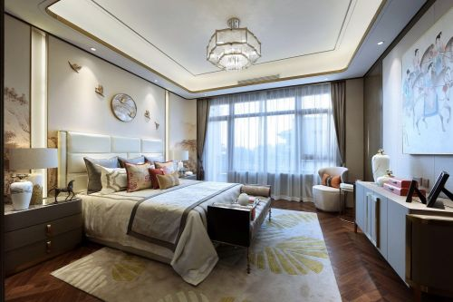 黔江碧桂园卧室窗帘201-500m²四居及以上中式现代家装装修案例效果图