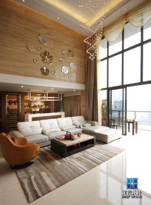 金山谷复式楼客厅沙发121-150m²复式潮流混搭家装装修案例效果图