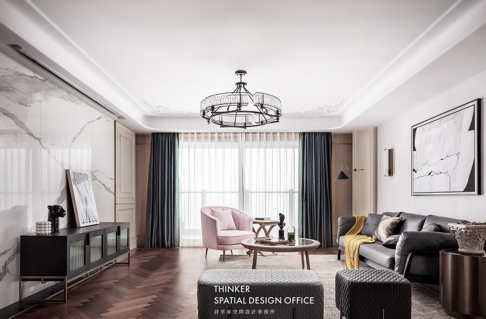 武汉诗享家|东湖边的摩登复古腔调客厅欧式豪华客厅设计图片赏析