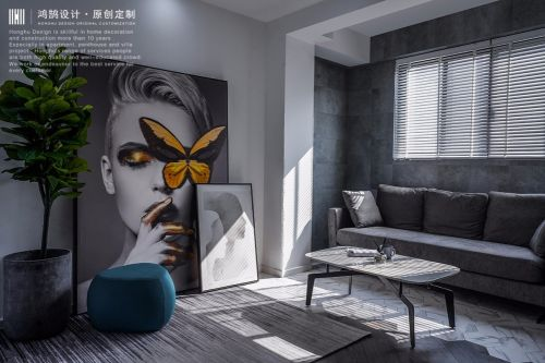 将绿色生命融入极简现代都市美学!客厅沙发61-80m²现代简约家装装修案例效果图