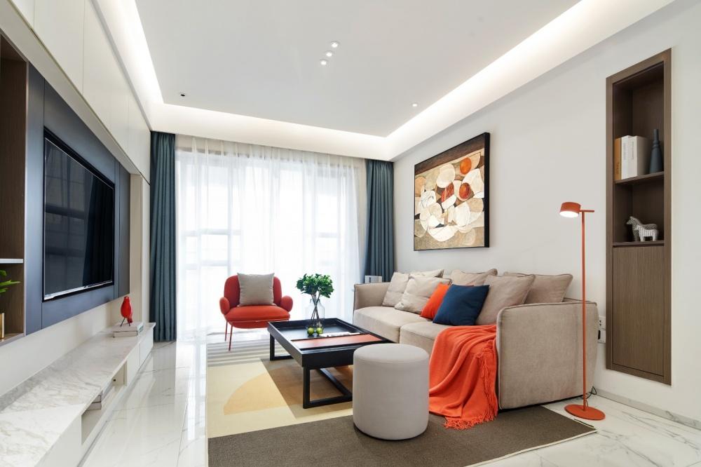 开放空间素色硬装+撞色软品互动趣味体验客厅现代简约客厅设计图片赏析
