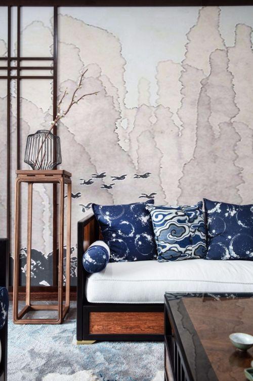 《忆江南》有点设计卧室床201-500m²四居及以上中式现代家装装修案例效果图