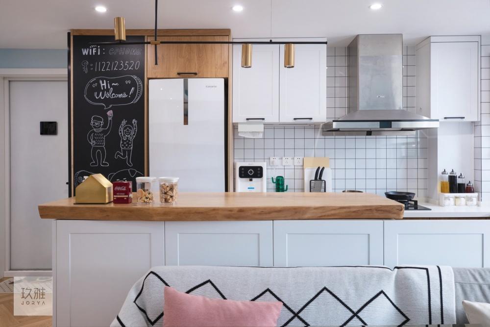 开放式厨房显乱?高低台一招搞定餐厅北欧极简厨房设计图片赏析