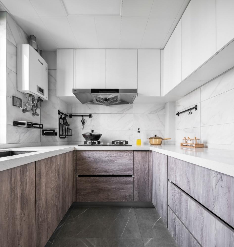 110平凹出下沉式客厅餐厅现代简约厨房设计图片赏析