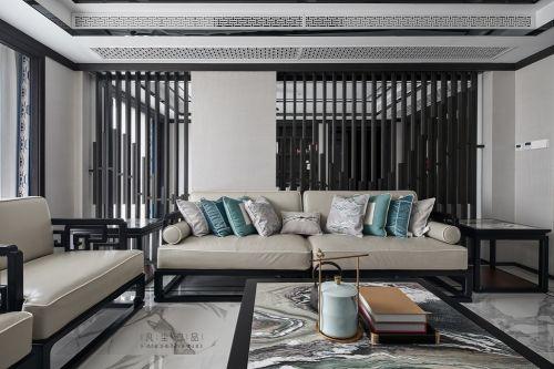 新中式,燕东园客厅沙发201-500m²复式家装装修案例效果图
