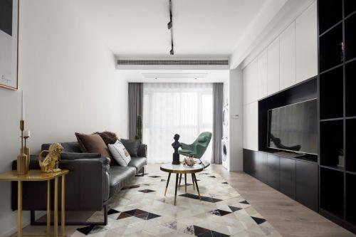 度外客厅窗帘81-100m²二居现代简约家装装修案例效果图
