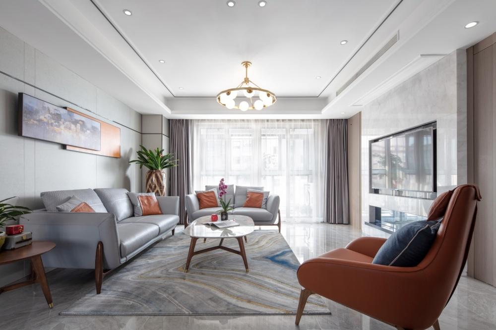 余辉设计《橙色时光,现代轻奢公寓》客厅现代简约客厅设计图片赏析