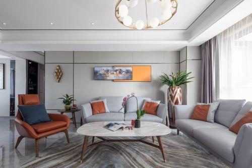 余辉设计《橙色时光,现代轻奢公寓》客厅窗帘121-150m²四居及以上现代简约家装装修案例效果图