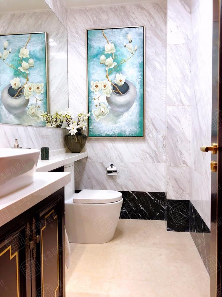 融创氿园新中式风格别墅装修卫生间中式现代卫生间设计图片赏析