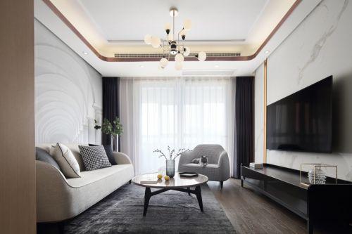 澄净客厅窗帘81-100m²二居现代简约家装装修案例效果图