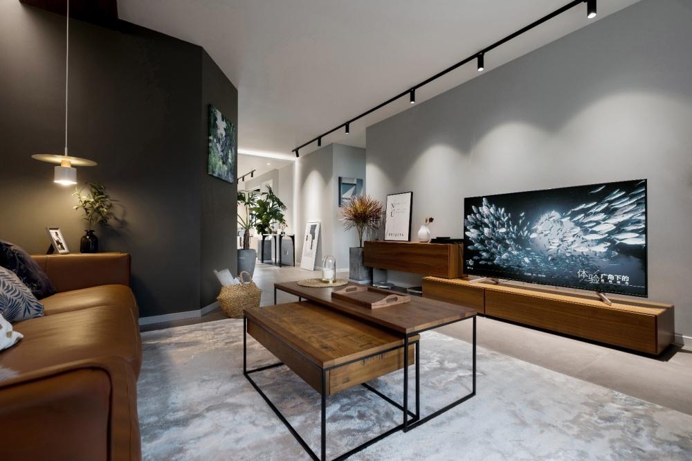 胡桃木&黑&灯,打造星巴克自在风格客厅现代简约客厅设计图片赏析