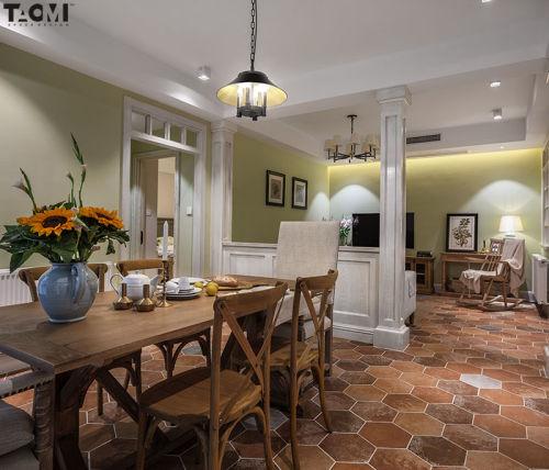 【桃弥设计】【香江花园】厨房沙发美式田园家装装修案例效果图