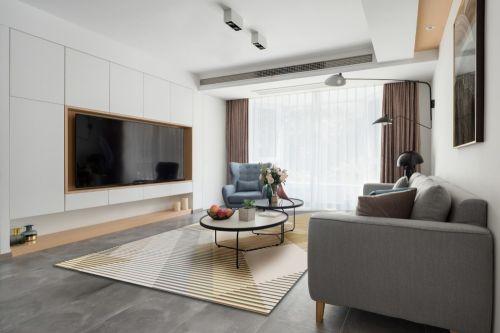 且听风吟.钟麓花园客厅电视背景墙121-150m²四居及以上现代简约家装装修案例效果图