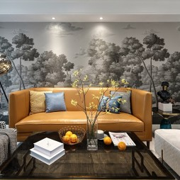 115平米美式经典——沙发背景图