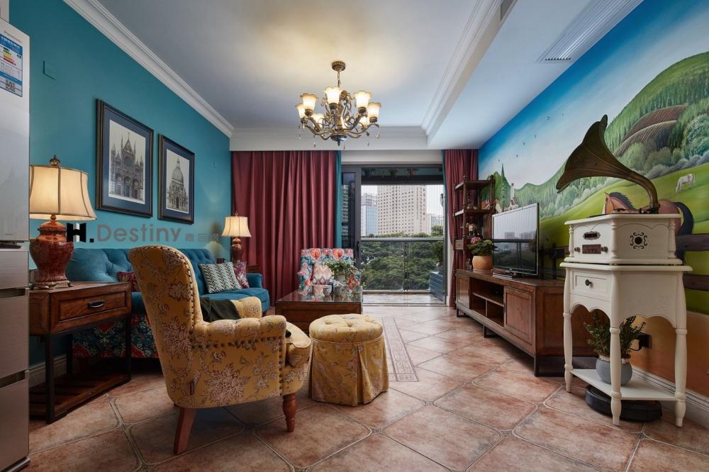 中洲花园客厅美式田园客厅设计图片赏析
