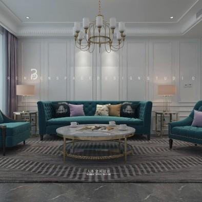 蓝调,美式轻奢洋房设计