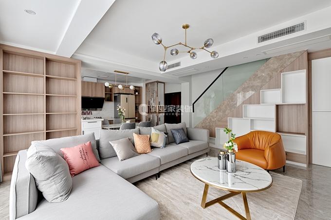 重庆渝北康田蔚蓝海现代轻奢风格客厅现代简约客厅设计图片赏析