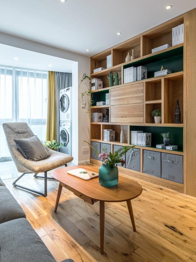 老师的家|全面墙书柜客厅+隐形门设计客厅1图现代简约客厅设计图片赏析
