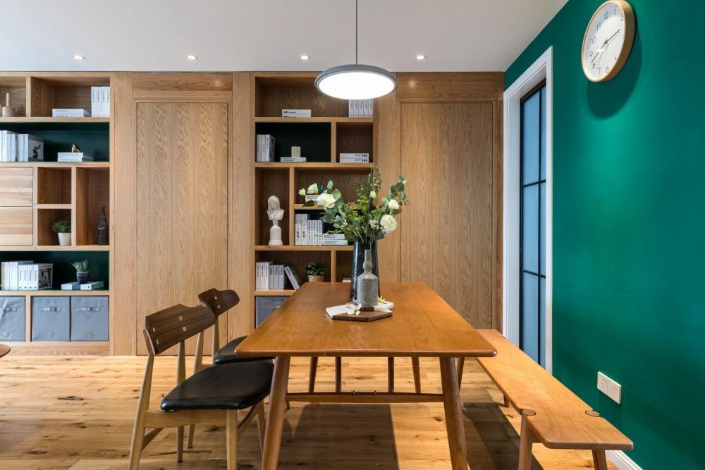 老师的家|全面墙书柜客厅+隐形门设计功能区现代简约功能区设计图片赏析