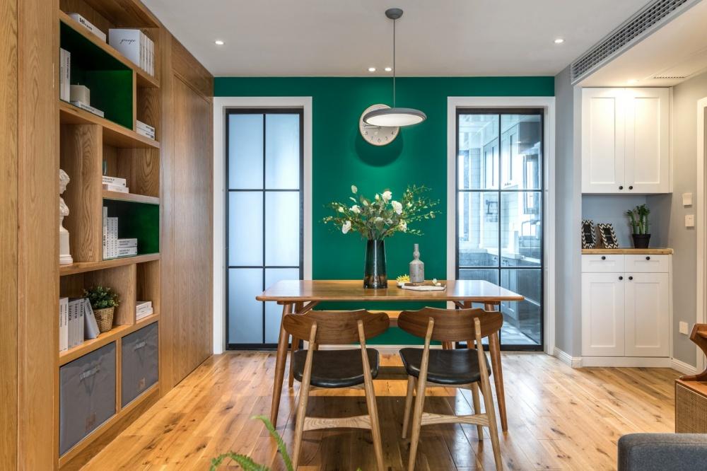 老师的家|全面墙书柜客厅+隐形门设计厨房3图现代简约餐厅设计图片赏析