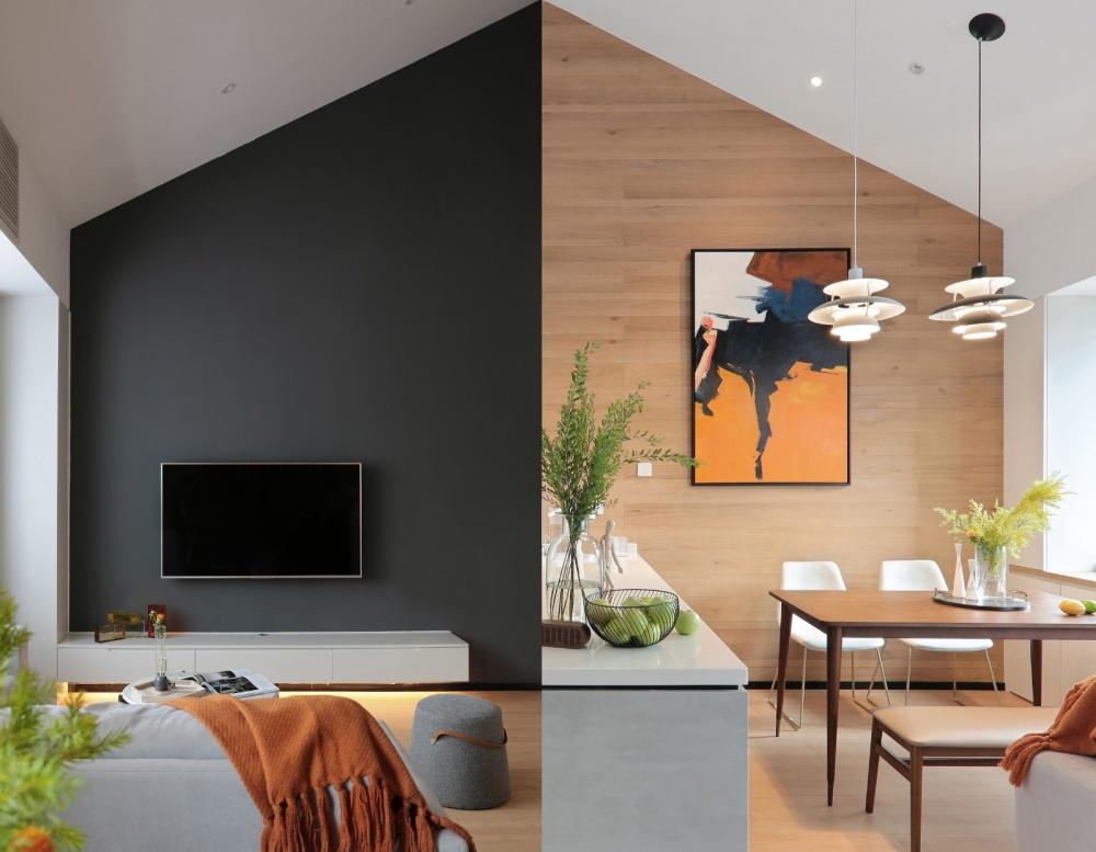 这个带阁楼的家,一半高冷一半温暖客厅现代简约客厅设计图片赏析