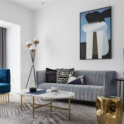 一个克莱因蓝的走道成就了全屋最大的亮点——客厅图片