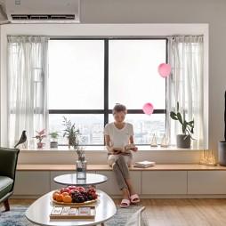 白色+原木配色的家——飘窗图片