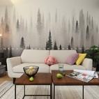 北歐極簡—愛在盛夏 繡球花開——沙發背景圖