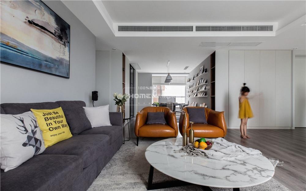 49万打造150平高级感的性冷淡风客厅现代简约客厅设计图片赏析