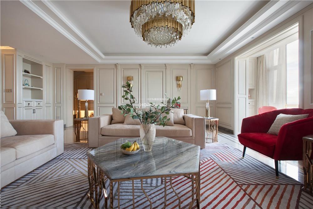 280大平层,优雅法式一点红客厅欧式豪华客厅设计图片赏析