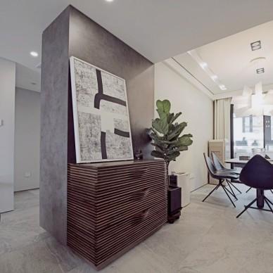高级灰现代简约三室——玄关图片